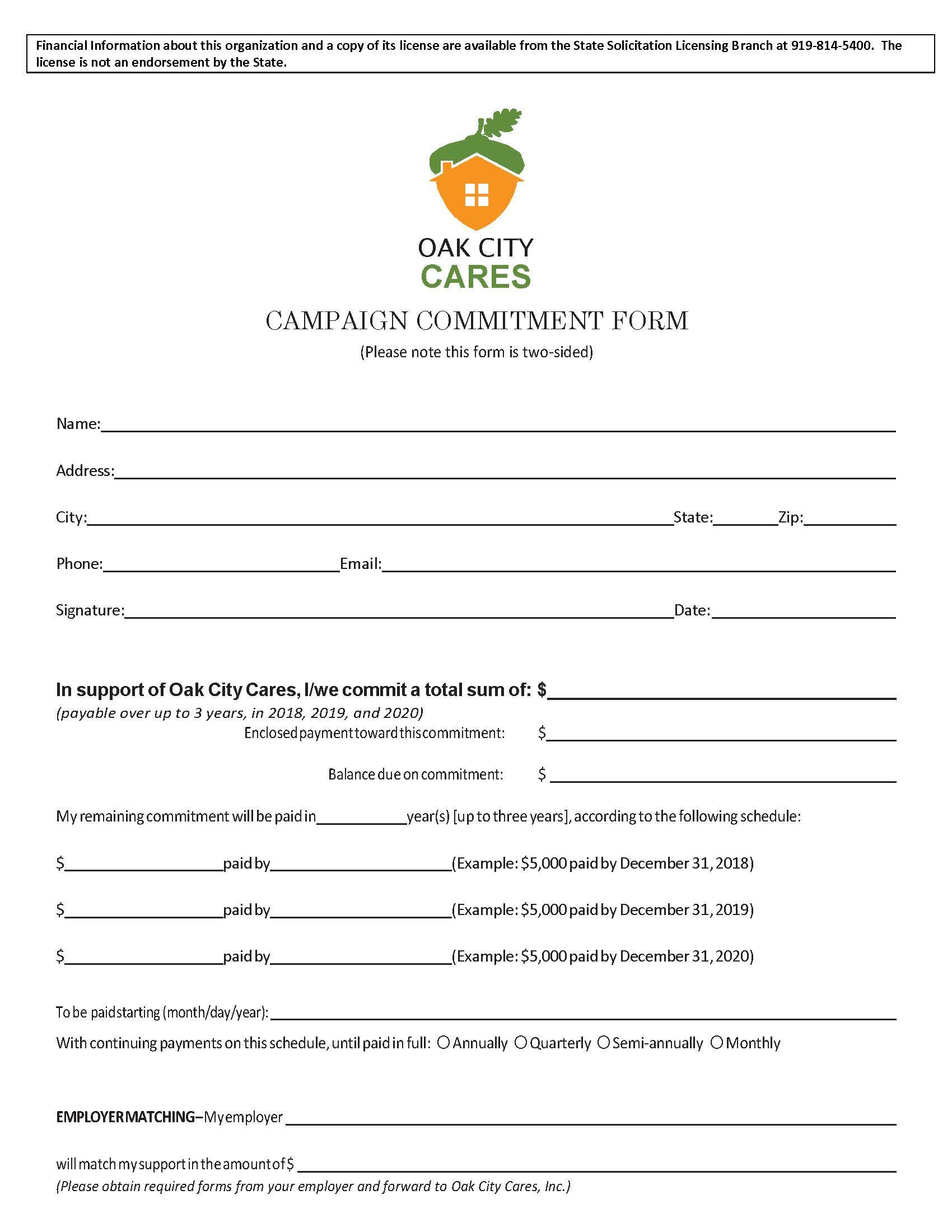 Oak City Cares Commitment Form
