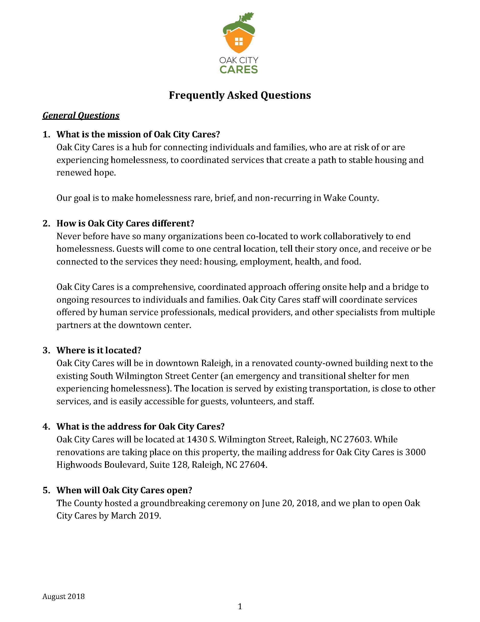 Oak City Cares FAQ