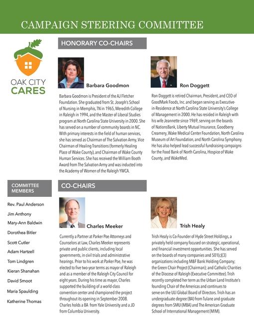 Oak City Cares Leadership Summary